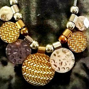 "17"" Erica Lyons EL Gold&Silver-Tone Disk Necklace"